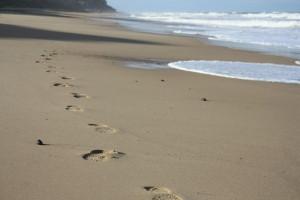 foot prints sand