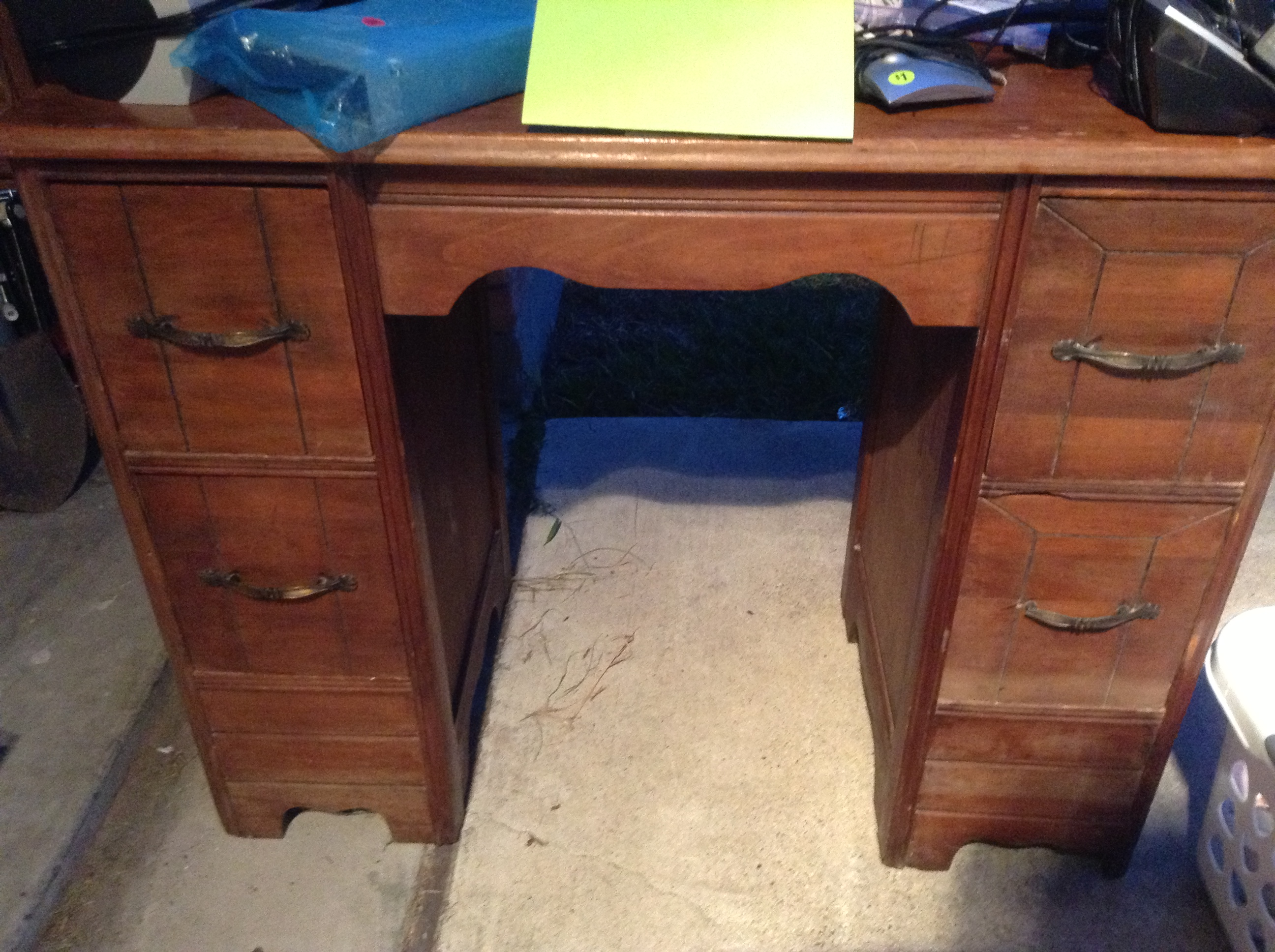 Wood Desk I Spotted At My Local Goodwill Into Something Beautiful. Full resolution  photograph, nominally Width 2592 Height 1936 pixels, photograph with #246BA7.