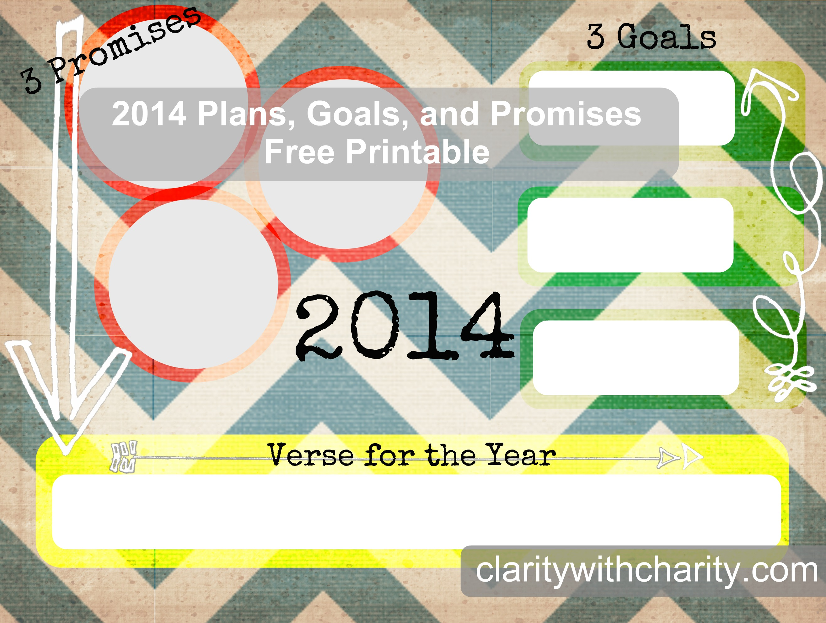 2014 new years resolution, goals and promises free printable