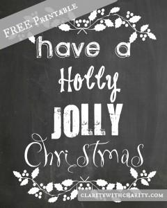 Holly Jolly Chalkboard free printable, Christmas Free Printable