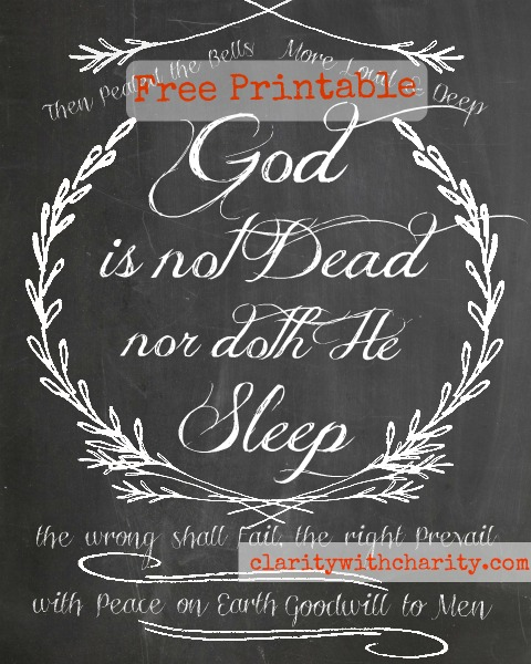 Free Christmas Chalkboard Printable, Peace on Earth, Goodwill to Men, Christian