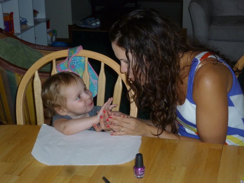 Giving my niece her first manicure!